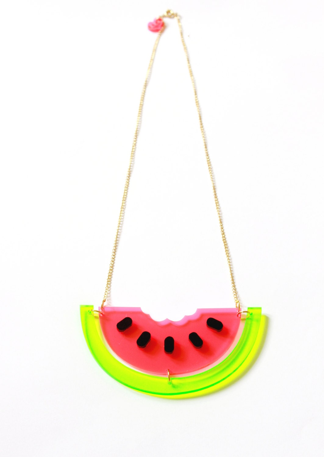 watermelon necklace tropics collection by ilovecrafty on