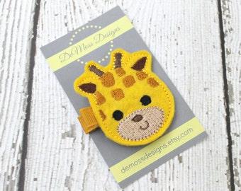 Giraffe Hair Clip, Felt Hair Clippie, Machine Embroidered, Alligator Clip, Non Slip, Ready to Ship