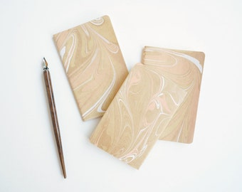 Small Marbled Lined Moleskine Notebook in Peach White and Gold