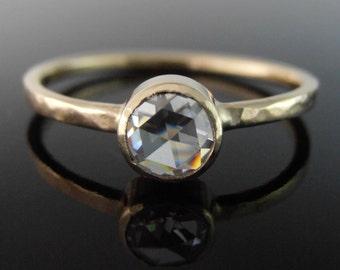 Rose Cut Moissanite and 14k Gold Ring, Moissanite Engagement Ring, Moissanite Stack Ring, 14k Gold Ring, Alternative Engagement Ring