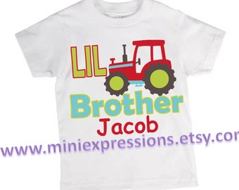 LIL Brother Tractor shirt Personalized