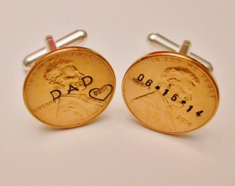 Father of the Bride or Groom Cufflinks, Custom Hand Stamped; Personalized Men Dad Stepdad Groomsmen Gift; 1959-2017 Penny; Heart Option, Box