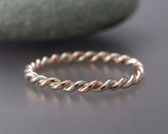 Rose Gold and Silver Twist Ring in Two Tone in mixed Sterling Silver and Solid Rose or Yellow Gold - 1.6mm