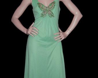 Vintage 70s Boho Dress / Green Goddess Maxi Dress  / 70s Sequined Butterfly Maxi Dress