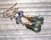 14K Gold Green Amethyst and Iolite Earrings, February Birthstone Jewelry, Dangle Earrings