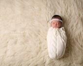 Newborn cable swaddle sack.Newborn photo prop, newborn boy, newborn prop, newborn girl, newborn props, newborn swaddle wrap blanket