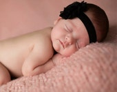 Black Shabby Flower Headband Infant Flower  Headband Newborn Flower Headband  Shabby Chic Flower Headband  Photo Prop Baby Shower