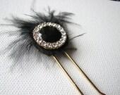 Black hair piece | rhinestone pin | gold | feather