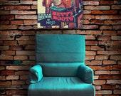 Nashville art canvas wrap rockabilly decor Betty Boots sign fine art canvas print large wall art aqua country wall decor