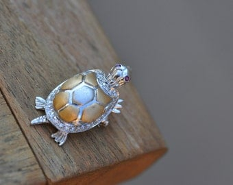18k Solid White and yellow Gold and diamond turtle pin pendant with movable arms, legs, head, ruby eyes