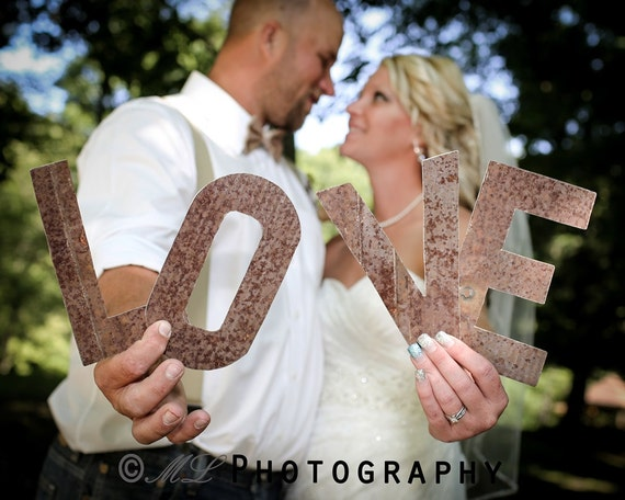 Old Tin Letters, LOVE Letters, Hand Cut, Rustic Wedding, Wedding Prop, Engagement Prop, Photo Shoot, Bridal Shower, Staging Prop, Spell LOVE