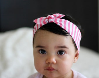 Knot baby headband Pink and white stripes