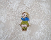 Vintage Creed Sterling Silver Holland Dutch Girl Brooch - Bench Sitter - Gold and Enamel on Sterling - Mid Century - Girl Wearing Scarf