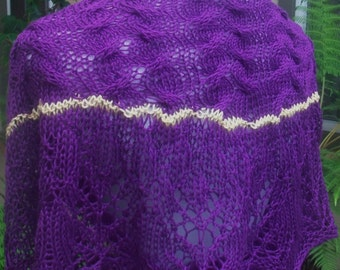 Purple and Yellow African Violet Hand Knit Lace and Cables Pima Cotton Shawlette or Scarf