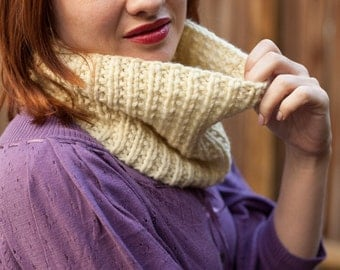Off-White HandKnit Chunky Cowl Neckwarmer, Ready to ship