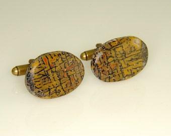 Stunning Earth Tone Multi Color with Rare Yellow Dinasaur Bone Freeform Cufflinks 24x18 mm R-31