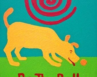 Be the Ball yellow dog art print copyright Hillary Vermont
