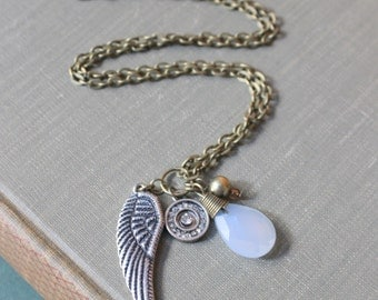 Angel wing, Wire wrapped Briolette Hipster, Boho Chic necklace