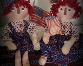 Made to Order Primitive Raggedy Ann and Andy Rag Dolls Americana Patriotic Handmade Handpainted Folk Art HAFAIR OFG Statteam