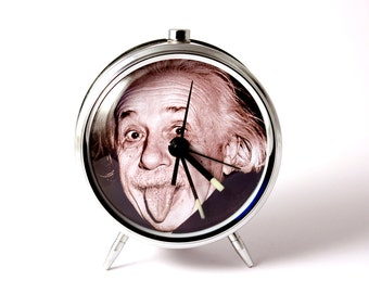 Alarm clock Albert Einstein tongue mechanical alarm clock handmade
