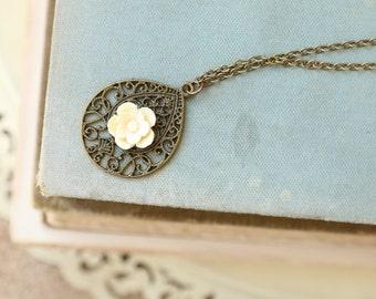Filigree Drop Necklace, Cream Dogwood Flower