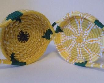 Lemon Coiled Linen Basket Pocketbook