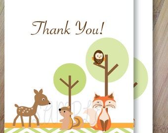 Forest Friends, Folded Blank Thank you Cards, Set of 10 Professionally Printed