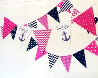 Happy Birthday Anchor Fabric Banner, Nautical Bunting, 5 Extra Large Pennant Flag, Fuschia Hot Pink, Navy Girl Party, Smash Cake Photo Shoot