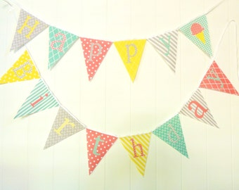 Happy Birthday Bunting, Happy Birthday Banner, Fabric Pennant Flags, Coral, Mint, Yellow, Grey, Photo Prop, Garland, Happy Birthday Sign