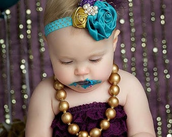 Mardi Gras Majesty Banner and headband SET - teal, plum and gold singed satin and rosette heabdans with feather and netting