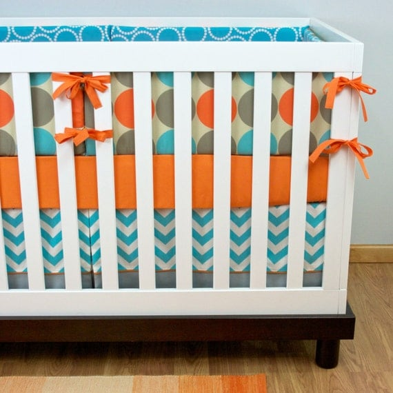 Crib Bedding Baby Bedding Orange Aqua Gray Dots Chevron