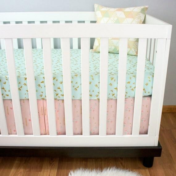 Pink Mint And Gold Nursery: Crib Bedding Girl Pink And Mint Metallic Gold Cribset Modern