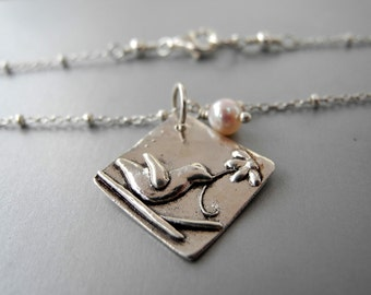 Sterling Silver Bird With Flower Necklace Pearl June Birthstone Whimsical