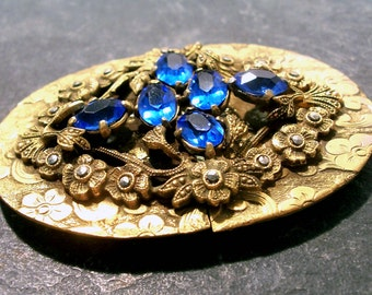 Coro Marcasite Buckle VINTAGE Floral Buckle Signed Coro Faceted BLUE Gems Marcasite Repousse Flowers Victorian Edwardian Buckle (M11)