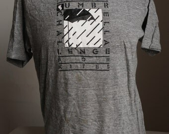 Vintage RAYON BLEND T SHiRT 80s TRi Blend Rayon KiTE FLYiNG 80s (42 inches around chest) gray
