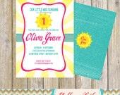Little Miss Sunshine Birthday Party Invitation- Birthday / Little Miss Sunshine / DIY Printable / Teal / Pink / Yellow