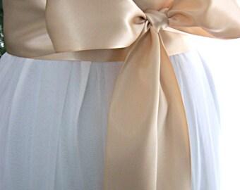 Blush pink / Nude wedding sash, bridal sash, bridesmaid sash, bridal belt, dress sash, gown sash, 3 inch satin