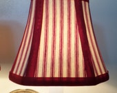 French Country Chandelier Shades in a fresh Red Pillow Ticking Fabric Mix and Match