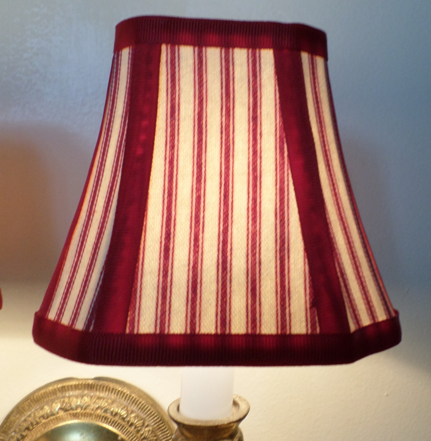 French Country Blue Lamps: French Country Chandelier Shades In A Fresh Red Pillow Ticking