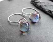 blue earrings, stormy sky, lampwork glass and sterling silver