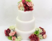 Wedding Cake Topper - Pink, Coral Hydrangea, Green Calla Lily, Pink Rose Silk Flower Cake Topper, Wedding Cake Flowers, Fake Flower Topper