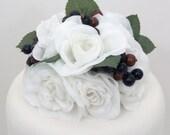 Winter Wedding Cake Topper - White Rose, Berries Silk Flower Wedding Cake Topper, Silk Flower Cake Topper, Winter Wedding