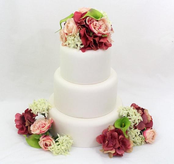wedding cake topper rosa koralle hortensie gr ne calla. Black Bedroom Furniture Sets. Home Design Ideas