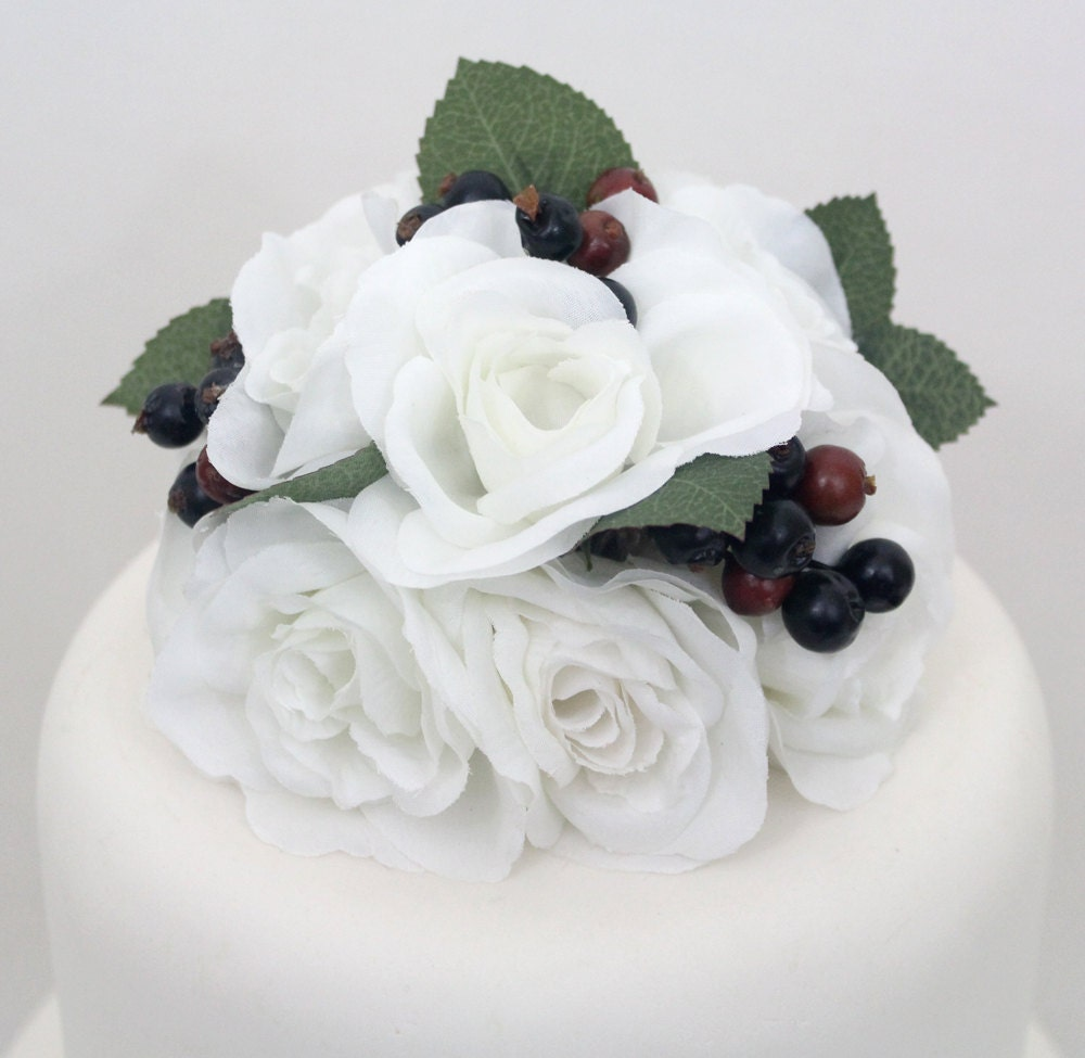White Rose Wedding Cake Topper Flowers Crowned With A White Roses