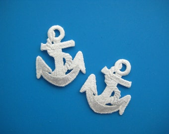 2 pcs Iron-on embroidered Patch white ANCHOR 1.5 inch