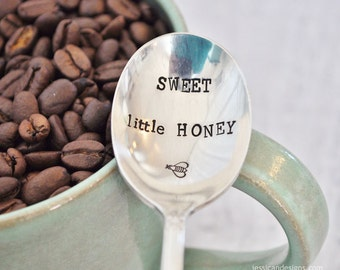 Sweet Little Honey Bee - Vintage Handstamped Spoon