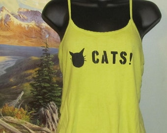 DISCOUNT Cat Shirt - Black on Bright Green fitted tank - Medium - bright neon yellow, Stencil, Cartoon, Kitty, Kitten, Feline, Pets, Animal