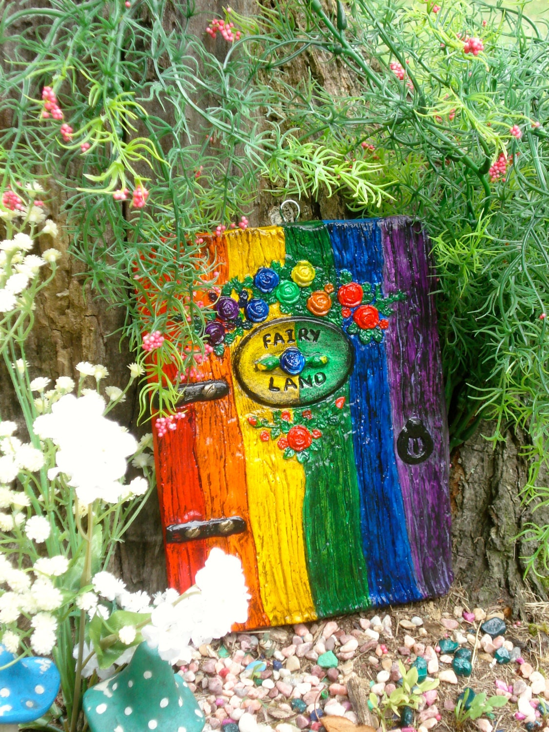 Rainbow fairy door fairy garden door fairy doors and for Outdoor fairy door