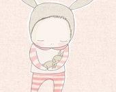 Baby Shower Gift - Baby Bunny Rabbit Cuddle - Peach version
