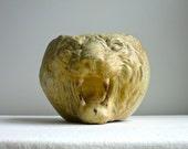 Antique Redware Lion Head Pot - American Pottery Roaring Big Cat Planter Vase